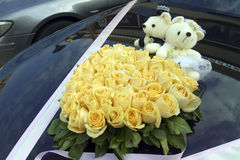 Roses on wedding car Stock Photos