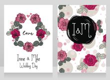 Roses Wedding Cards Royalty Free Stock Images