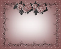 Roses Wedding Invitation. Design element for Valentine or wedding background, stationery,  border or frame with duo tone Pink Roses with copy space Stock Photo