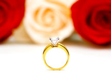 Roses and wedding ring isolated Royalty Free Stock Image
