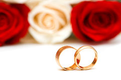 Roses and wedding ring isolated Stock Image