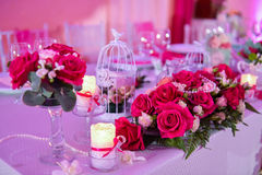 Roses on a wedding table Stock Image