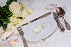 Roses Wedding Tableware Stock Images
