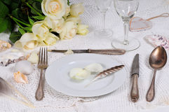 Roses Wedding Tableware Royalty Free Stock Images