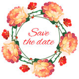 Roses wedding wreath post card. Vector illustration. Stock Photo