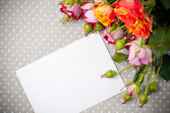 Roses and white cardboard on a gray fabric. Bouquet of roses and white cardboard on a gray linen fabric closeup Royalty Free Stock Image