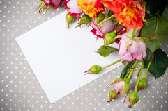 Roses and white cardboard on a gray fabric. Bouquet of roses and white cardboard on a gray linen fabric closeup Stock Photos