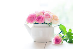 Roses in a white enameled vintage teapot. Bouquet of yellow and pink roses in a white enameled vintage teapot in bright sunlight on a white wooden table, rustic Stock Photography