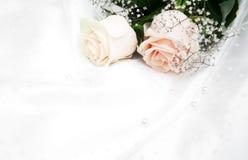 Roses on white silk background Stock Photos