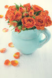 Roses on white wooden background Royalty Free Stock Photo