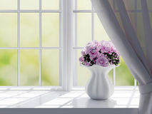 Roses on a windowsill. Bouquet of pink flowers (roses) on a windowsill Stock Images
