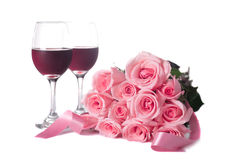 Roses and Wine Royalty Free Stock Photo