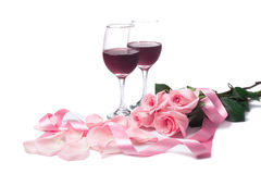 Roses and Wine Stock Photos