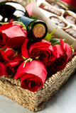 Roses, Wine and Chocolates Royalty Free Stock Image