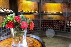 Roses and wine Stock Photo