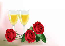 Roses and wine for two. Three beautiful red roses and two glasses of white wine. With empty space for text Royalty Free Stock Image