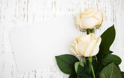 Roses With A Card Stock Images