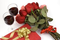 Roses With Present And Wine Stock Image