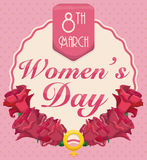 Roses and Women's Symbol to Commemorate Women's Day, Vector Illustration Stock Photography