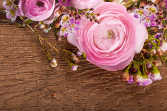 Roses on a wooden background Stock Image