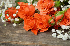 Roses on wooden background Stock Photo