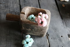 Roses in a wooden box Stock Photo