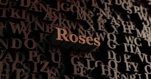 Roses - Wooden 3D rendered letters/message Royalty Free Stock Photo