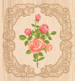 Roses in wooden frame Stock Images