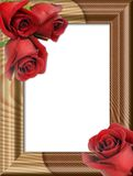 Roses on a wooden framework. Bouquet from three red roses on a wooden framework for photos Royalty Free Stock Photography