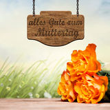Roses with wooden message board saying Best wishes for Mother's Day. In German stock image