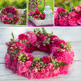 Roses wreath collage Stock Images