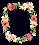 Roses wreath decorative dark composition. Watercolor illustration Royalty Free Stock Images