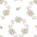 Roses wreath seamless pattern engraving style Stock Photography
