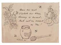 """""""Roses zijn rood, zijn de viooltjes blauw rijm † en tekeningen op oude document achtergrond Stock Foto's"""