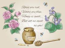 """""""Roses zijn rood, zijn de viooltjes blauw rijm † en tekeningen Vectorvalentine card Royalty-vrije Stock Foto"""
