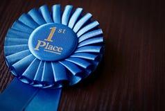 Roseta do vencedor do lugar do azul primeira Imagens de Stock