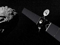 Rosetta probe and asteroid- 3D render. Rosetta probe in the universe next to an asteroid - Elements of this image furnished by NASA Royalty Free Stock Images