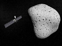 Rosetta probe and comet 67P Churyumov-Gerasimenko Royalty Free Stock Photo