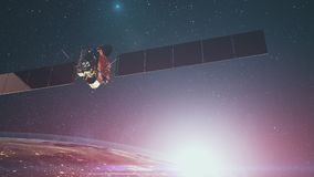 Rosetta space probe with solar panels over Earth