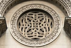 A rosette above the entrance of orthodox church. A rosette above the entrance of Aleksandar Nevski orthodox church, in Belgrade ,Serbia stock image