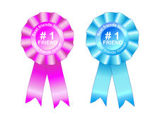 Rosette award best friends forever blue and pink. Rosette award best friends forever Royalty Free Stock Photography