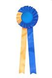 Rosette azul e amarelo da fita Fotografia de Stock Royalty Free