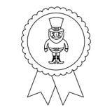 Rosette badge with leprechaun st patricks cartoon Royalty Free Stock Photos