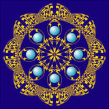 Rosette with  blue pearls. It is a decorative  octagonal rosette with blue pearls in the center of it Stock Images