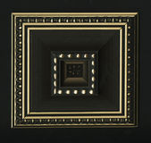 Rosette décorative carrée tétraédrique des bandes de encadrement en bois Photo stock