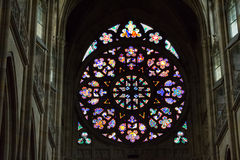Rosette decal of St. Vitus Cathedral in Prague. Decal window transparency of rosette inside the cathedral of St Vitus in Prague, a church with dark Gothic towers stock photos