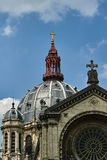 Rosette and dome of the Catholic Church. In Paris royalty free stock image