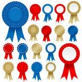 Rosette-Farbband-gesetzter Vektor Lizenzfreie Stockfotos
