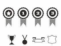 Rosette icons. Vector illustration Icon set of award badges. Medals with ribbons.race car motor Stock Photo