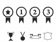 Rosette icons. Vector illustration Icon set of award badges. Medals with ribbons.race car motor Stock Photography